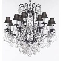 Crystal Chandelier With Black Shades