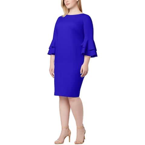 Calvin Klein Womens Plus Wear to Work Dress Boat Neck Bell Sleeves - Blue