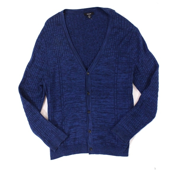1f4c3eda10 Shop Alfani Blue Men s Size 2XL Ribbed Space Dye Cardigan Knit Sweater -  Free Shipping On Orders Over  45 - Overstock - 22340674