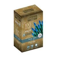 Celebrations 44803-71 Staylit Blue Commercial Mini Light Set, 34.25'