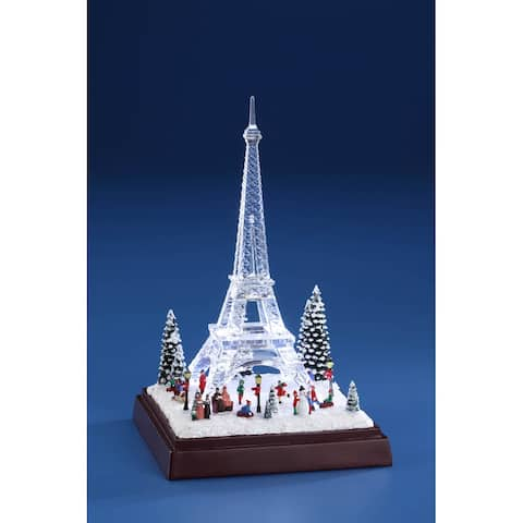 """Pack of 2 White and Clear Winter Eiffel Towers with LED Light 8"""""""