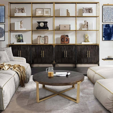 """Handmade Modern Wood Round Coffee Table with Gold Strong Metal Frame - D36""""X H17"""""""