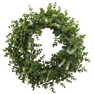 """Nearly Natural Home Decorative 18"""" Eucalyptus Double Ring Artificial Faux Wreath with Twig Base"""