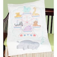 "Stamped White Quilt Crib Top 40""X60""-Ferris Wheel"
