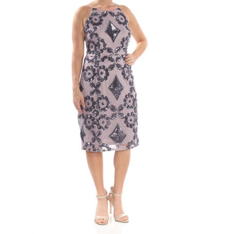 AIDAN MATTOX Womens Purple Embroidered Sequined Halter Knee Length Sheath Party Dress Size: 12