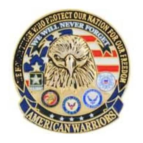 American Warriors Military Lapel Pin - 1-1/8 inches