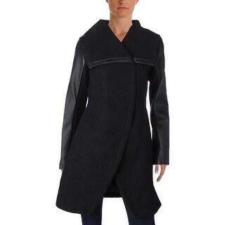 Betsey Johnson Womens Pea Coat Winter Herringbone
