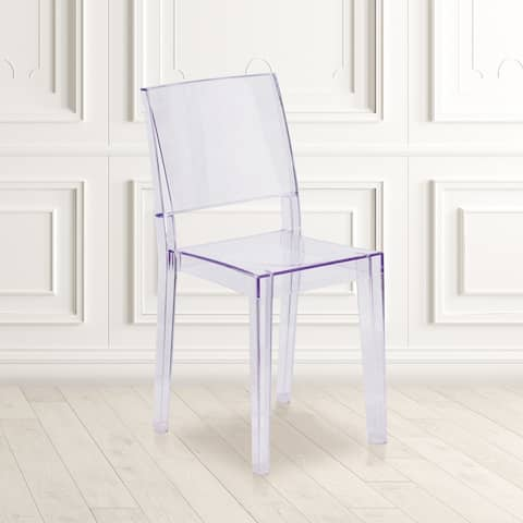 "Transparent Stacking Side Chair - Armless Side Chair - Resin Stack Chair - 16.25""W x 20""D x 34""H"