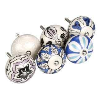 6 x Hand Painted Ceramic Knobs Cabinet Drawer Wardrobe Cupboard Pull Handles
