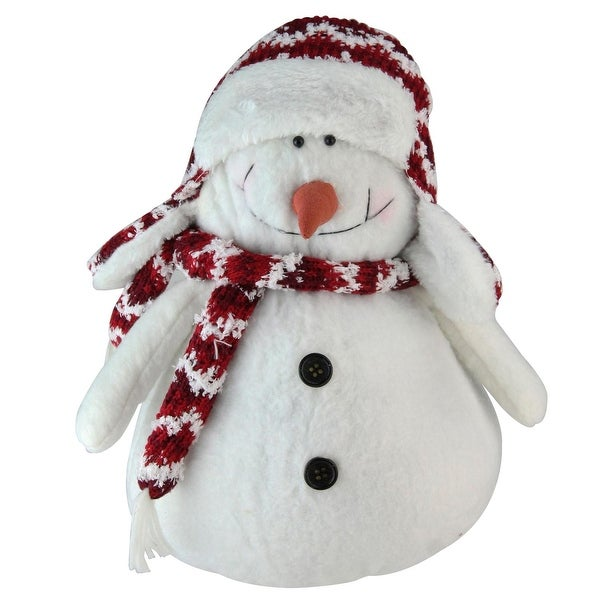 """11"""" """"Let it Snow"""" Arctic White and Candy Apple Red Decorative Snowman Figurine"""