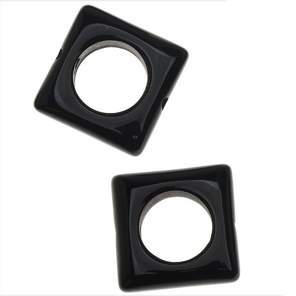 Natural Onyx Gemstone Beads, Square Frame 12.5mm, 10 Pieces, Black
