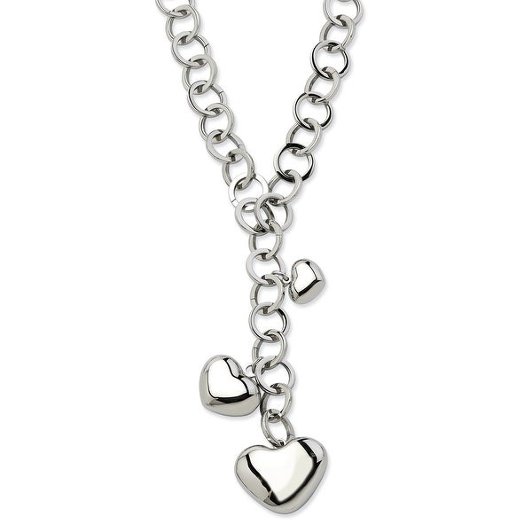 Chisel Stainless Steel Polished Hearts 28 Inch Y Necklace (10 mm) - 28 in