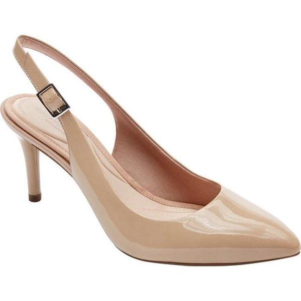 6d495a971425 Rockport Women  x27 s Total Motion 75MM Pointy Toe Slingback Warm Taupe  Patent