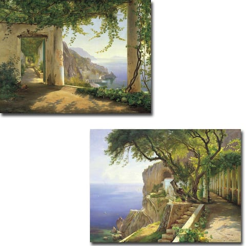 View to the Amalfi Coast & Pergola in Amalfi by Aagaard 2-pc Gallery Wrapped Canvas Giclee Set (18 in x 24 in Ea Canvas in Set)