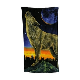 Full Moon Howling Wolf Design Beach Towel 34 X 64 Inches - Multicolored