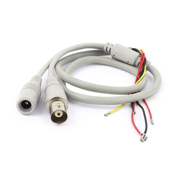 Unique Bargains Female BNC 5.5x2.1mm DC Power Jack to 5 Wire CCTV Camera Power Cable Gray