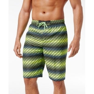 Nike NEW Volt Yellow Mens Medium M Drawstring Printed Trunks Swimwear