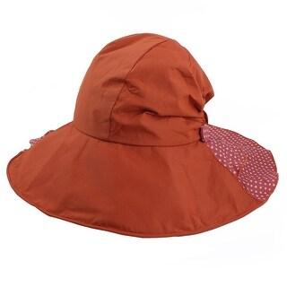 Woman Travel Cotton Blends Dots Pattern Floppy Beach Cap Sun Visor Hat Orange