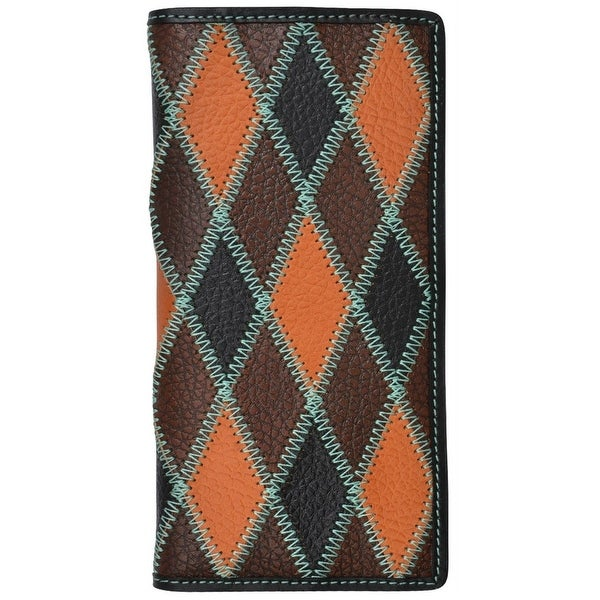 3D Western Wallet Mens Rodeo Patchwork Checkbook Black Brown - One size