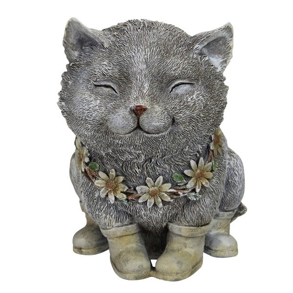 """7.75"""" Gray and White Outdoor Pudgy Cat in Rain Boots Garden Statue - N/A"""