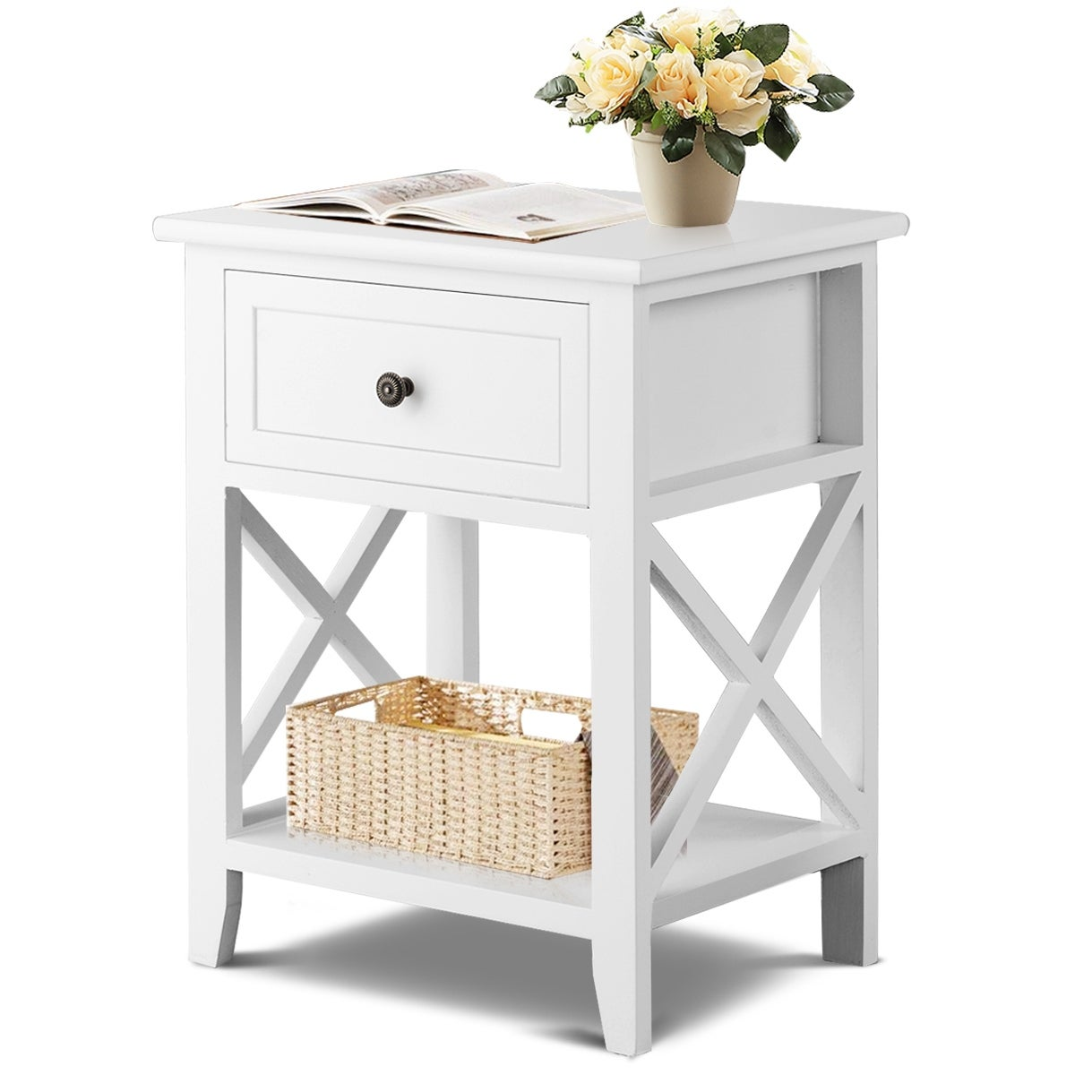 Costway End Bedside Table Nightstand Drawer Storage Room Decor W Bottom Shelf White