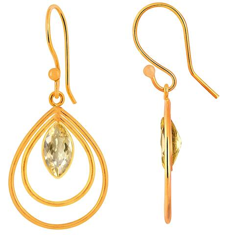 Citrine Brass Marquise Dangle Earrings by Orchid Jewelry