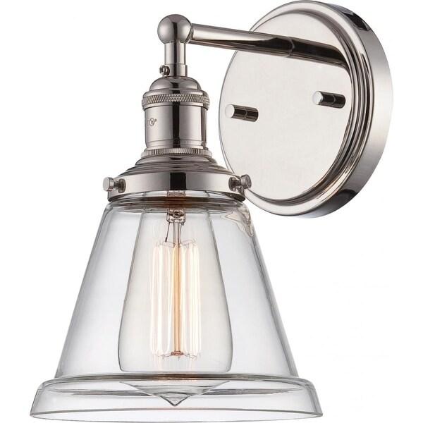 "Nuvo Lighting 60/5412 Vintage 6.5"" Width 1 Light Bathroom Sconce in Polished Nickel - Polished Nickel"
