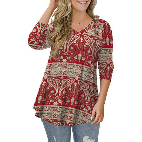 Women's Plus Size Tops Paisley Floral Tunic Tops V Neck Swing Blouses