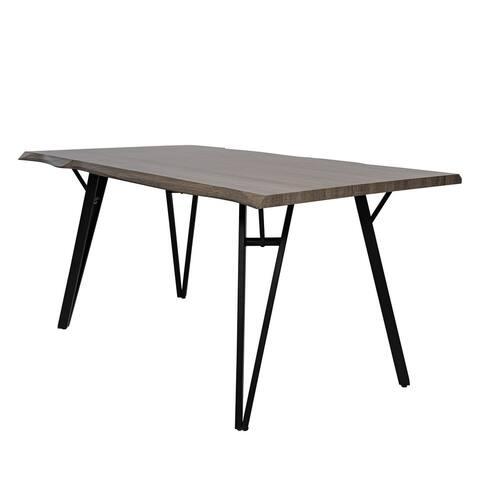 "LeisureMod Ravenna Wavy Edge Wood 63"" Dining Table With Hairpin Legs"