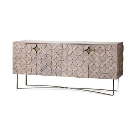 Excelsior I (72x18.3) Solid Wood Gold Metal Base 4 Cabinet Door SideBoard
