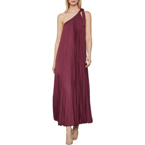 BCBG Max Azria Women's Pleated One Shoulder Full Length Maxi Gown - Deep Red