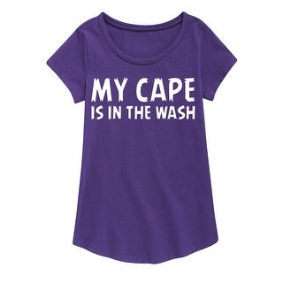 My Cape Is In The Wash - Youth Girl Short Sleeve Curved Hem Tee