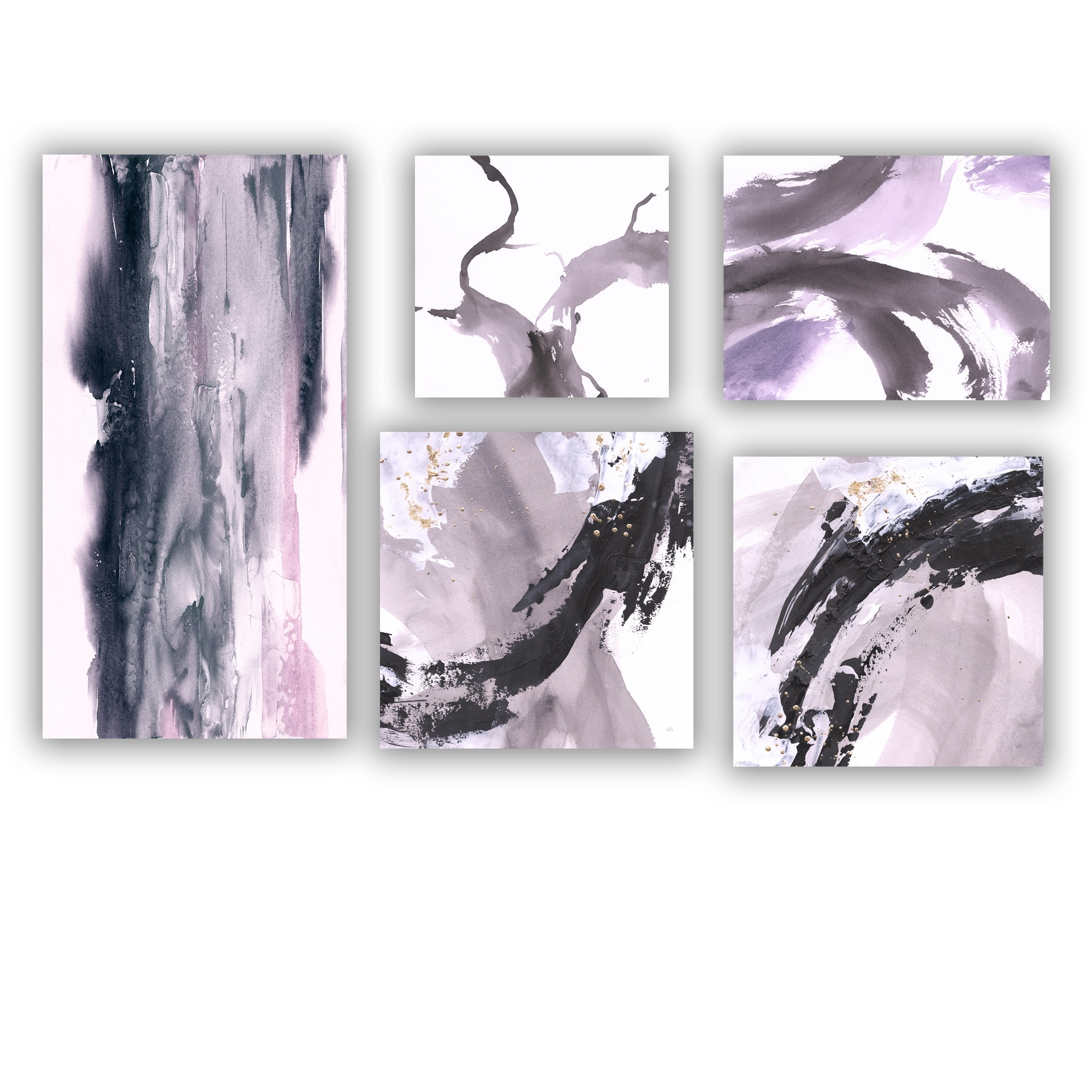 Designart Black Purple Collection Abstract Wall Art Set Of 5 Pieces Multi Color Overstock 26882079
