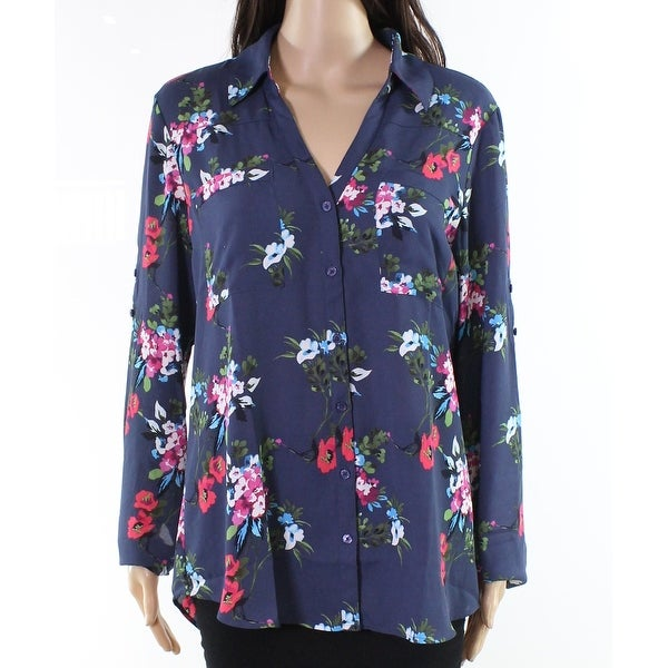 f1ed00fd234659 Shop Express Blue Womens Size Large L Button-Front Portofino Blouse - Free  Shipping On Orders Over $45 - Overstock - 21556823