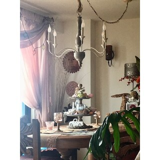 Farmhouse Distressed Wood 6-light handcrafted Chandelier for Kitchen Dining Room - 29.5 * 29.5 * 24.4
