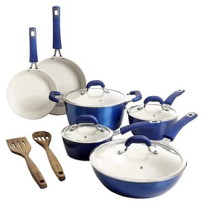 Kenmore Arlington Aluminum Ceramic Coated Nonstick Cookware Set- Blue
