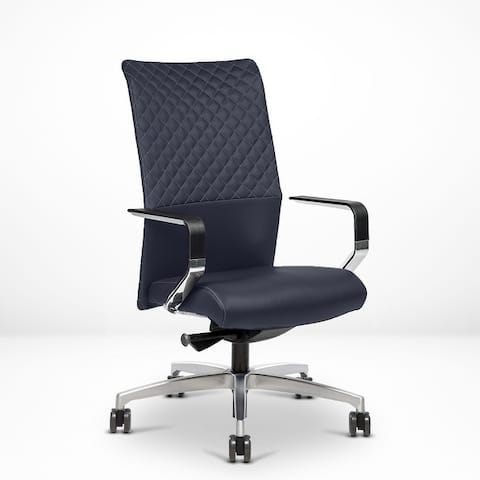 Proform Diamond Hand-Stitched Executive Ergonomic Desk Chair, Faux Leather and Polished Aluminum Frame