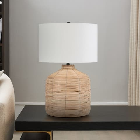 Jolina Rattan Table Lamp with Brass Accents