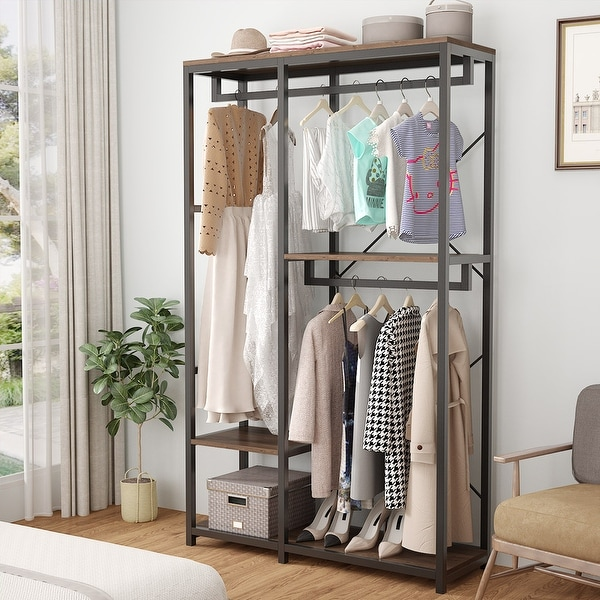 Double Rod Closet Organizer with 3 Shelves. Opens flyout.