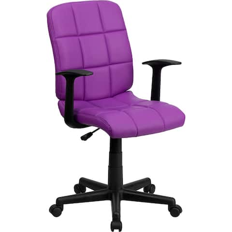 Aberdeen Mid-Back Purple Quilted Vinyl Swivel Home/Office Task Chair w/Arms