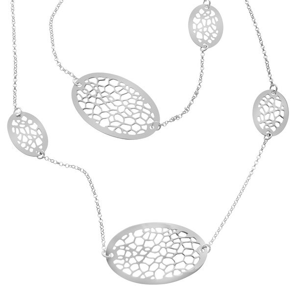 Oval Cut-Out Station Necklace in Sterling Silver - White