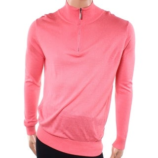 Jeremy NEW Coral Pink Mens Size Medium M 1/2 Zip Mock-Neck Sweater
