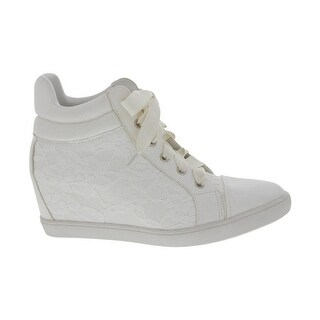 Angelina Adult White Lace Outer Fully Lined Trendy Sneakers