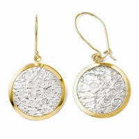 10k Gold with Rhodium-plated Polished and Textured Dangle Earrings