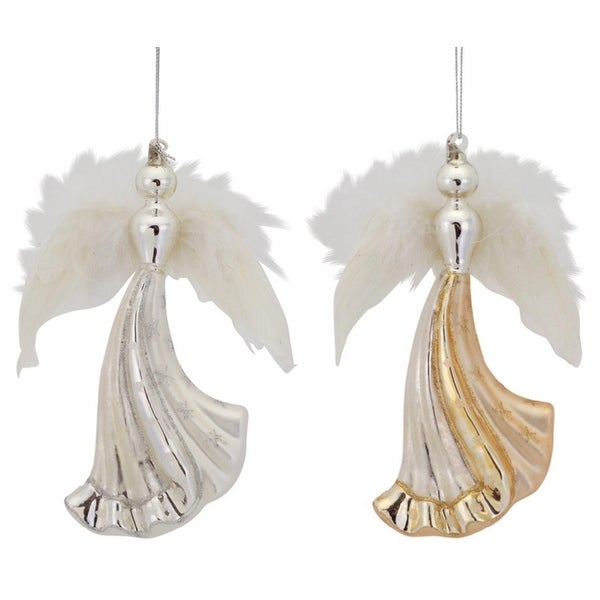 Pack of 12 Inspirational Gold and Silver Angel Glass Christmas Ornaments 6.5""