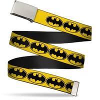 Blank Chrome Buckle Bat Signal 3 Yellow Black Yellow Webbing Web Belt