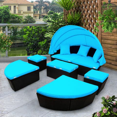 Nestfair Round Outdoor Wicker Sectional Sofa Set with Retractable Canopy