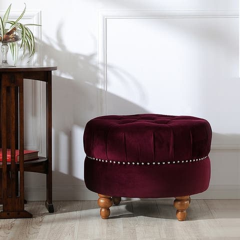 Valencia Tufted Velvet Round Cocktail Ottoman Footstool by Jennifer Taylor Home