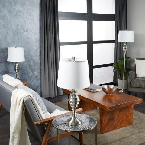 Silver Iron Coastal Table Lamp (Set of 3) - 10 x 10 x 59 Round