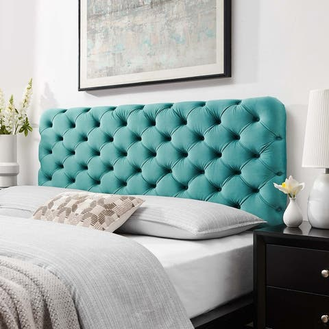 Lizzy Tufted Queen Performance Velvet Headboard